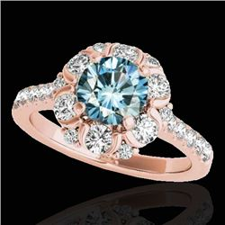 2.05 CTW SI Certified Fancy Blue Diamond Solitaire Halo Ring 10K Rose Gold - REF-209R3K - 33915