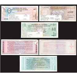 Jujuy, Tucuman, and Salta Provincial Issues, 1986-1988, Lot of 300 Notes