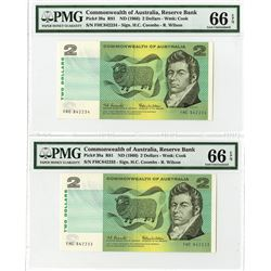 Commonwealth of Australia, ND (1966) Sequential Pair of Banknotes Tied with the Finest Known.