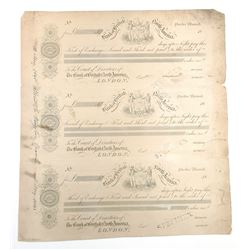 "Bank of British North America, 1845 ""Quebec branch"" Proof Bill of Exchange Sheet of 3."