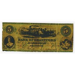 Bank of Brantford, 1859 Issued Obsolete Banknote.