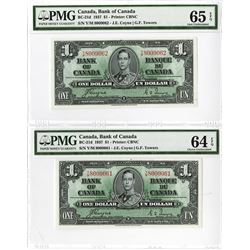 Bank of Canada, 1937 Issue High Grade Sequential Banknote Pair.