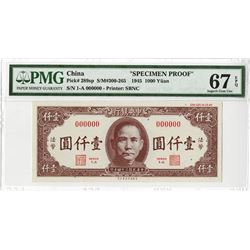Central Bank of China, 1945 Issue Specimen Color Trial Banknote.