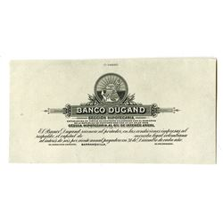 Banco Dugand, 1919-22 Proof Banknote.