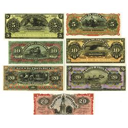 Banco De Costa Rica, ca.1880-1920 Issue Banknote Assortment.