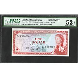 East Caribbean Central Bank, ND (1965) Issue Specimen Unique Signature Variety.