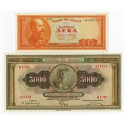Bank of Greece 1928 to 1955 Issue Banknote Pair.