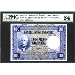 Iceland Landsbanki Islands, 1928 (ND 1945-56), Specimen Note