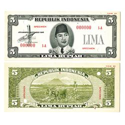 Republik Indonesia Unlisted 1948 Issue Essay Uniface Front & Back Specimen Banknotes.