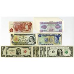 U.S. & Foreign Banknote Melange, ca.1940 to 1980's.