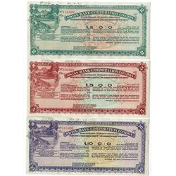 Swiss Bank Corporation, 1920-1929 Specimen Traveler's Check Trio.