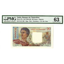 Banque De L'Indochine, ND (1954-58) Issued banknote.