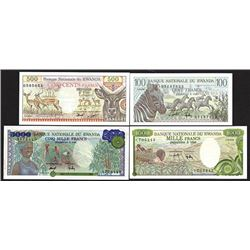 Banque Nationale du Rwanda, 1978, Quartet of Issued Banknotes