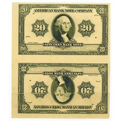 American Bank Note Co. Unique Advertising Specimen Note Pair 20 Denomination.