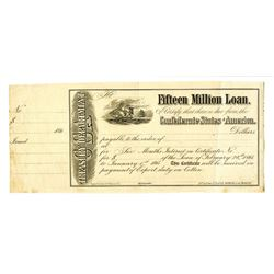 Treasury Department, Fifteen Million Loan of February 28th, 1861 to January 1865 Unissued Certificat