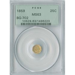 California Fractional 25c 1859, Octagon Liberty gold PCGS graded MS63