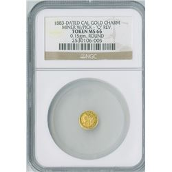 California Gold Charm Token Round 1883,  Miner/Q Rev. gold, NGC graded MS66