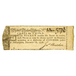 United States Lottery, Class the Third, November 18, 1776 Issued Lottery Ticket.