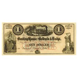 Banking House of Baldwin & Dodge, 185_, Unissued Obsolete Banknote.