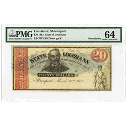 State of Louisiana, 1863 Remainder Obsolete Banknote.
