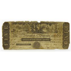 Passamaquoddy Bank, 1819 Issued Obsolete Banknote.
