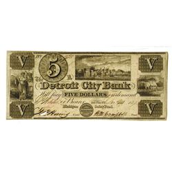 Detroit City Bank, 1837 Issued Obsolete Banknote.
