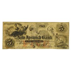 New Ipswich Bank, 1863 Issued Contemporary Counterfeit Obsolete.