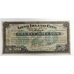 Improvement Certificate Long Island City, NY, 1877 Issued Circulating Obsolete Bond/Banknote.