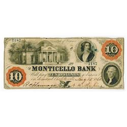Monticello Bank, 1860 Obsolete Banknote.