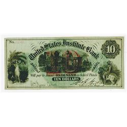 United States Institute Bank, ND (ca.1860-70's) Issued College Currency Bank.