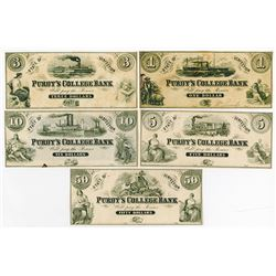Purdy's College Bank, Lot of 5 notes, ca.1850-1870's.