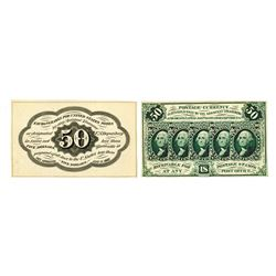 U.S. Fractional Currency, 1st Issue 50 cents Fr#1313, Front and Back Trimmed Proof Pair.