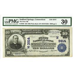 First National Bank of Stafford Springs, 1902, $10 PB, Fr#626, Ch#3914.
