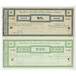 Fort Collins Clearing House Certificates, 1907 Depression Scrip Pair.