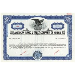 American Bank & Trust Co. of Houma, ca.1964 Specimen Stock Certificate