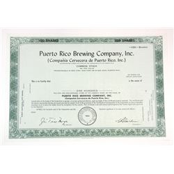 Puerto Rico brewing Co., Inc., 1962 Specimen Stock Certificate.