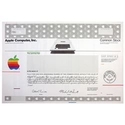 Apple Computer, Inc., 1977 Specimen Stock Certificate with Apple Logo & Early Apple Computer Image.