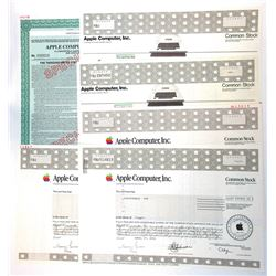 Apple Computer Inc., 1987 to 2002 Issued and Specimen Stock and Bond Certificate Assortment.