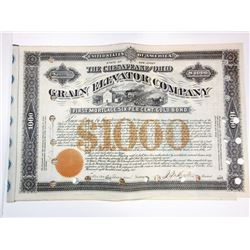 Chesapeake and Ohio Grain Elevator Co., 1882 Bond Signed by Collis P. Huntington