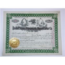 United States Pneumatic Horse Collar Co., 1899 Issued Stock Certificate
