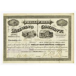 "Frederick Pabst Signed ""Philip Best Brewing Company"", 1873 Stock Certificate."