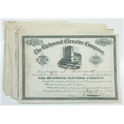 Richmond Elevator Co., 1885 Lot of Cancelled Stock Certificates