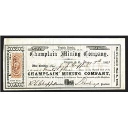 Champlain Mining Co., 1863 Stock Certificate.