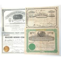 New Mexico Mining Stock Certificate Trio Plus another Western Mine, ca.1880-1899.