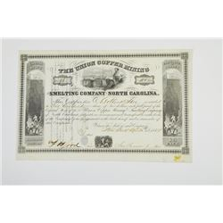 Union Copper Mining and Smelting Co., 1854 Issued Stock Certificate