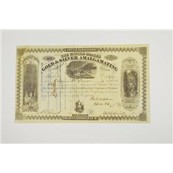 United States Gold & Silver Amalgamating Co., 1877 Issued Stock Certificate
