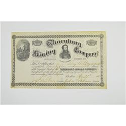 Thornburg Mining Co., 1881 Issued Stock Certificate