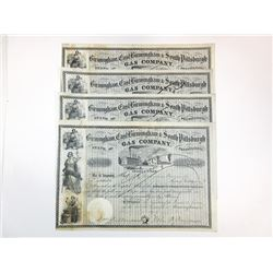 Birmingham, East Birmingham & South Pittsburgh Gas Co., 1854-1867 Group of Issued Stock Certificates