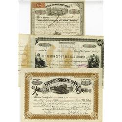 Trio of Railroad Related Cancelled Stock Certificates
