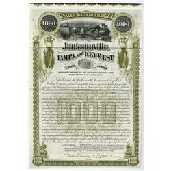 Jacksonville Tampa and Key-West Railway Co., 1890 Issued Bond